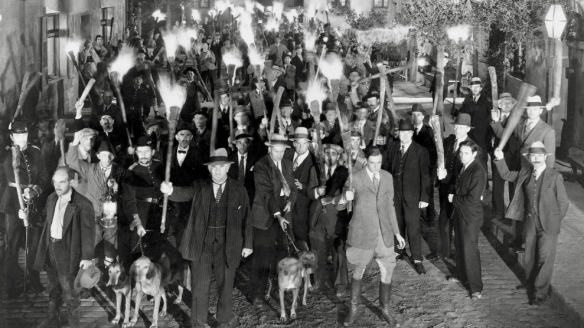 Colin Clive (in jodhpurs), Amongst Crowd with Torches and Clubs, on-set of the Film, ''Frankenstein'', 1931